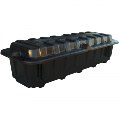 Dual group size 8D battery box, heavy-duty plastic construction, Made in USA