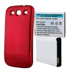 Samsung Galaxy S III Extended Cell Phone Battery (Red)