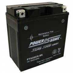 PTX20-BS AGM Power Sports Battery. Sealed maintenance free, leak proof and spill proof design.