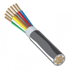 Heavy Duty Trailer Cable - 7 Conductor 10/12/14 Gauge Black, Brown, Green, White, Brown, Blue & Red