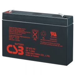 CSB GP672 (F1/F2) 6 Volt 7.2 Ah Sealed Lead Acid Battery