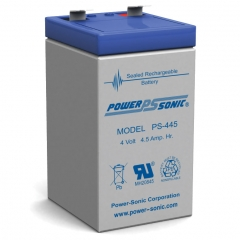 Power Sonic PS-445 Sealed Lead Acid Battery - 4 Volt 4.5 Amp Hour