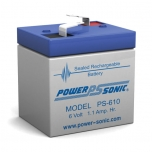 PS-610 - 6 Volt 1.1 Ah Sealed Lead Acid Battery