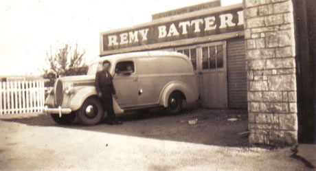 Jumbo standing next to new Remy Battery delivery truck, May 1939